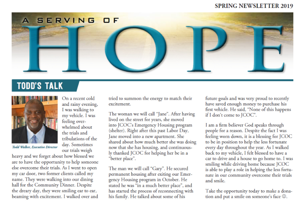 A Serving of Hope: Summer Newsletter