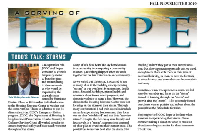 A Serving of Hope: Fall Newsletter
