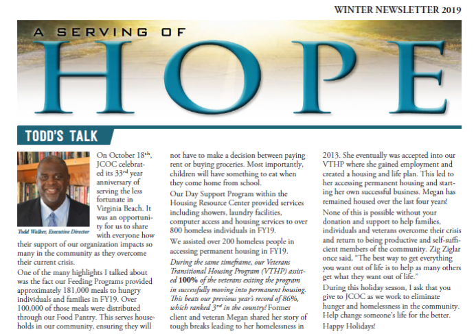 A Serving of Hope: Winter Newsletter