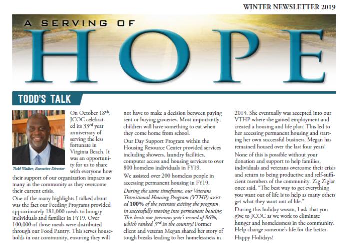 A Serving of Hope: Winter Newsletter
